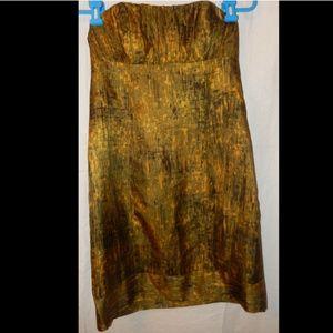 KENSIE Size 4 Green Yellow Black Silk Dress